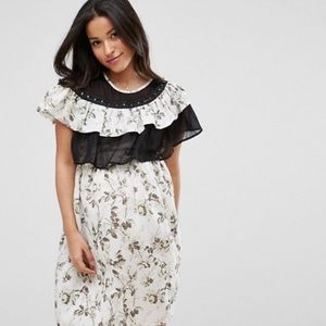 ASOS maternity floral dress with ruffles